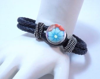 Snap Button Leather Bracelet with Handmade Colorful Millefiori Button with FREE extra Button of Your Choice