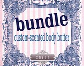 Organic Body Butter BUNDLE custom-scented made-to-order with organic shea and cocoa butter Vegan lotion