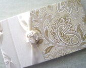 Wedding Guest Book Gold on Ivory Paisley holds up to 400 signatures