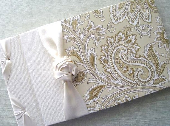 Wedding Guest Book, Guestbook, Gold and Ivory Guest book,  Paisley Design, Personalized, wedding signatures, Photo Album, Shower Gift