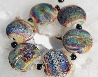 6 Rustic Raku Lentils , Ancient Organic Beads Earthy green brown blue Lampwork Beads , earthy look , by Beadfairy Lampwork, SRA