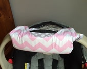 Cute NEW DESIGN Baby Pink Chevron and Stone Dot REVERSIBLE Car Seat Handle Arm Pad with Hand Grip
