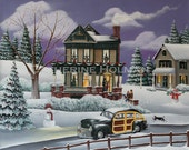 Christmas Folk Art Print Home For The Holidays / Victorian House, Snowman, Woodie