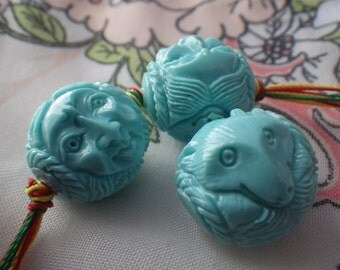 Sky Blue Fox Spirit Chalk Turquoise Beads 18mm 3 Pcs