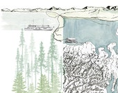 PUGET SOUND Map Washington (Art Print) Seattle Tacoma Olympia Whidbey Island Pacific Northwest Lakes Coast Topographic Map Mountain View