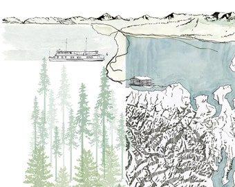 PUGET SOUND Map Seattle Washington (Art Print) Lakes Coast Topographic Map Mountain View