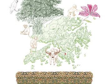 HONG KONG MAP Drawing (Art Print) Chinese New Year Mandarin Banyan Tree Monkeys Water Buffalo Memento Gift Anniversary Nursery Wedding Home