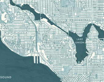SEATTLE Street MAP (Art Print) City Map Drawing Seattle Neighborhoods Washington Puget Sound