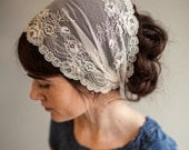 Victorian Lace in Vanilla Cream Garlands of Grace Bridal Specialty Lace headwrap headcovering veil headband