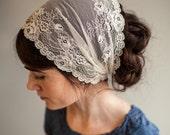 Victorian Lace in Vanilla Cream Garlands of Grace Birdal Specialty Lace headwrap headcovering veil headband