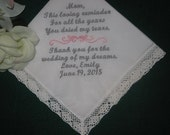 Embroidered Mother of the Bride Gift – Mother of the Bride Handkerchief – Wedding Handkerchief – Personalized Hankie116S