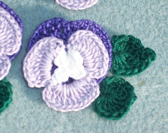 6 handmade purple cotton thread crochet applique pansies with leaves  --  649