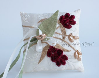 Ivory  Wedding pillow with branches---ring bearer pillow, wedding rings pillow , wedding pillow, ready to ship