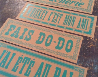 4 French Cajun Culture Letterpress Signs, Whiskey is my friend, Take me to the Dance Party Cajun kitchen Louisiana art Decorposters