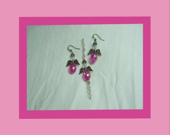 Set of Pink Beaded Angel Earrings and Pendant, Larger Size