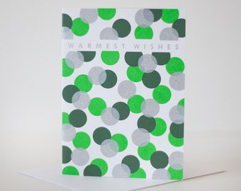 holiday card warmest wishes dots blank card