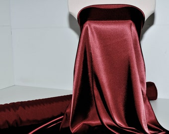 "Stretch Satin Maroon/Wine fabric 52"" wide...bridal, lingerie , home decor, pajama's"