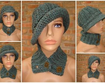 Blue/Brown Blend Cap and Scarf - Cowl - Hat - Handmade Crochet Set