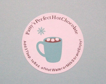 Hot Chocolate Labels - Personalized From The Kitchen Holiday Hot Cocoa Stickers - Favors - You Choose the Size