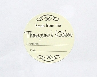 Kitchen Canning Labels - Stickers - Personalized Labels Fresh From The Kitchen - You Choose the Size