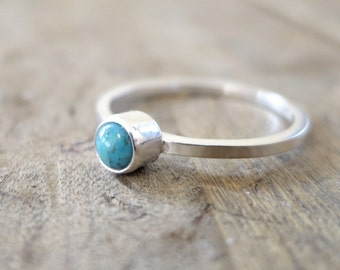 Turquoise ring, Sterling Silver, blue gemstone, Stacking ring, December birthstone