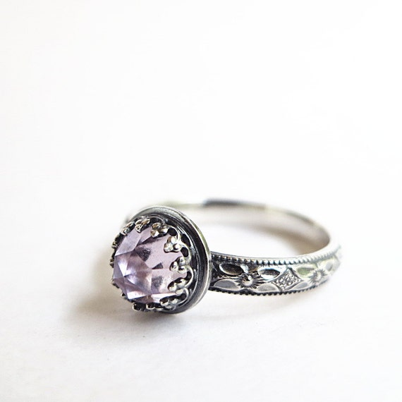 Amethyst Ring, Sterling Silver, purple gemstone, February Birthstone, stacking