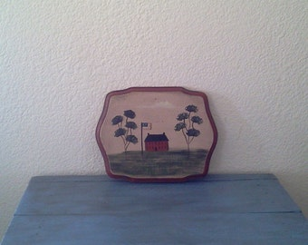 Hand Painted wooden Plaque - Folk Art  Americana