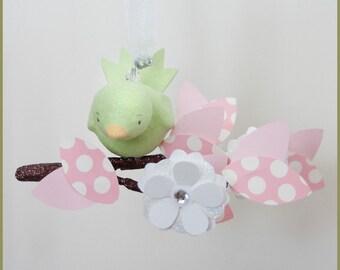 Petite bird and tree limb baby mobile nursery mobile nursery decor