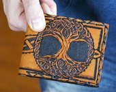 Men's Wallet-Men's Leather Wallet-Tree of Life-Leather Wallets-Men's Tooled Leather Wallet-Mens Celtic Wallet- Leather Wallet-Leather Wallet