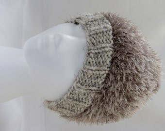 warm winter fuzzy furry taupe coffee with milk color   ski  everyday hand knitted  hat