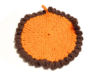 Hot Orange And Warm Brown Crocheted Round Dish Cloth