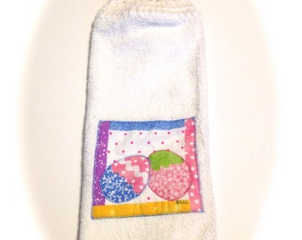 Easter Egg Hand Towel With White Crocheted Top