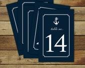Nautical table numbers - nautical wedding table numbers - navy anchor table numbers - instant download