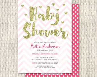 Pink baby shower invitation with gold glitter, baby girl shower, pink chevron with gold heart confetti, custom baby shower invitation