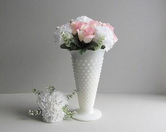 Vintage Milk Glass Hobnail Vase, Tall Vase, White Wedding Flower Vase, Wedding Table Decor