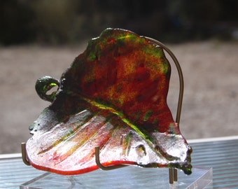 kiln cast glass autumn aspen leaf