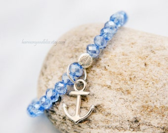 Anchor charm bracelet, nautical jewelry,  anchor charm jewelry, beach bracelet, summer fashion bracelet, baby blue glass faceted beads