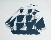 Large Print - Navy blue Sailing Ship Poster