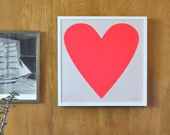 Neon Pink Heart Print - Framed