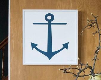 Anchor Screenprint - navy blue for the sailor at heart