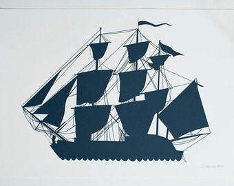 Large Print - Navy blue Sailing Ship Poster