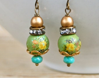 Green tea. bohemian beaded floral rose earrings. Tiedupmemories
