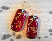 Dragonfly Handmade Sterling Silver Fused Dichroic Ruby Glass Earrings