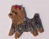 Ceramic Mosaic Tile or Brooch Pin Porcelain Yorkshire Terrier