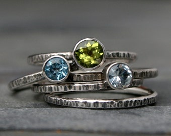 Oasis Stacking Rings, Sterling Silver Set of Five, Aquamarine, Swiss Blue Topaz, Peridot, Hammered Oxidized Stackable Ring Bands, Gemstone