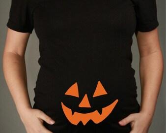 Halloween Pumpkin Face Maternity TShirt