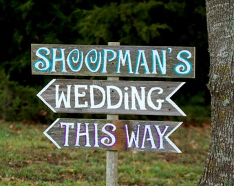 Last Name Wedding Sign This Way, Reception This Way Sign, Street Sign, Rustic Wedding Signs Trueconnection Romantic Outdoor Weddings Blue