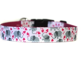 1 Inch Wide Dog Collar with Adjustable Buckle or Martingale in True Love