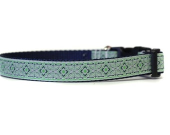 5/8 or 3/4 Inch Wide Dog Collar with Adjustable Buckle or Martingale in Stained Glass Green