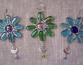 Stained Glass Flower Suncatcher Ornament with Little Bird Charm and swarvski like Crystal